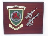 ROYAL REGIMENT OF WALES ( RRW ) MESS SHIELD WITH LSW & SA80 COMBAT PLAQUE